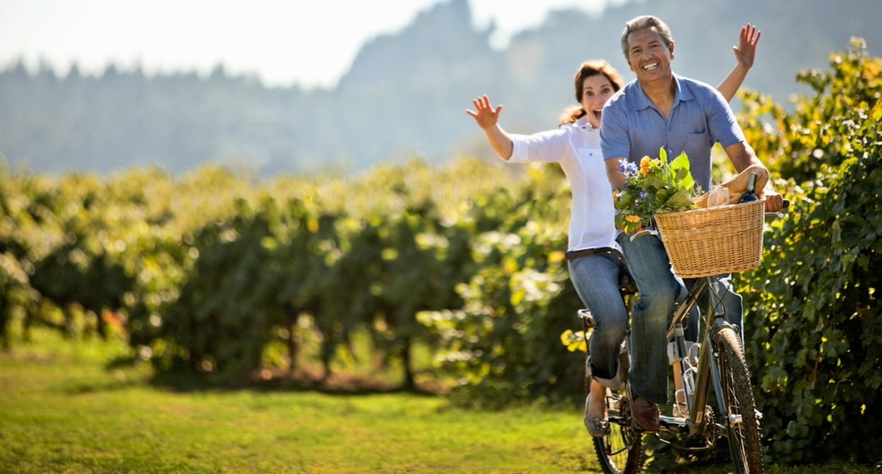 Biking among the vines of France