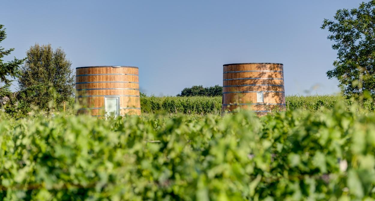 Habitable foudre wine vats at Château Bonhoste © Château Bonhoste