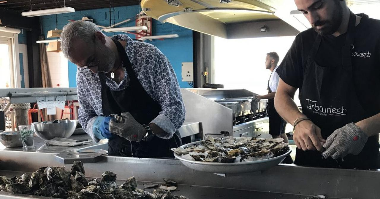 Oysters being prepared at Domaine Tarbouriech, Languedoc @Ambitious Kitchen