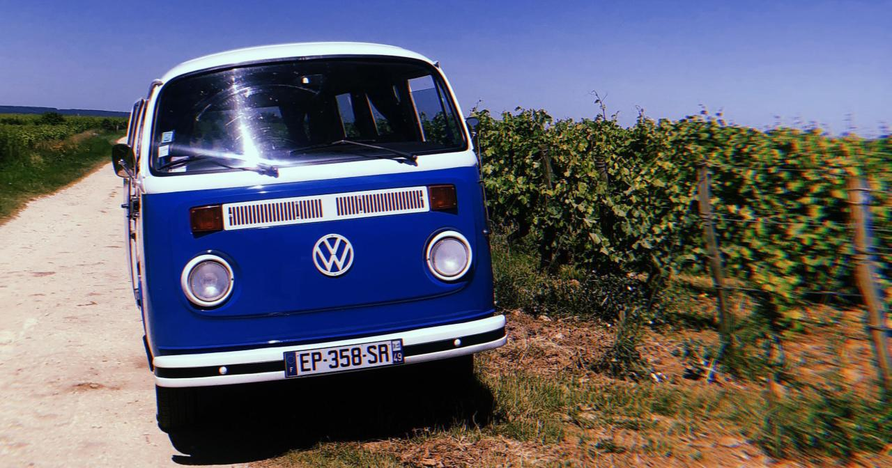 Visiting the Loire valley vinyards in a vintage VW combi ©Awaylands