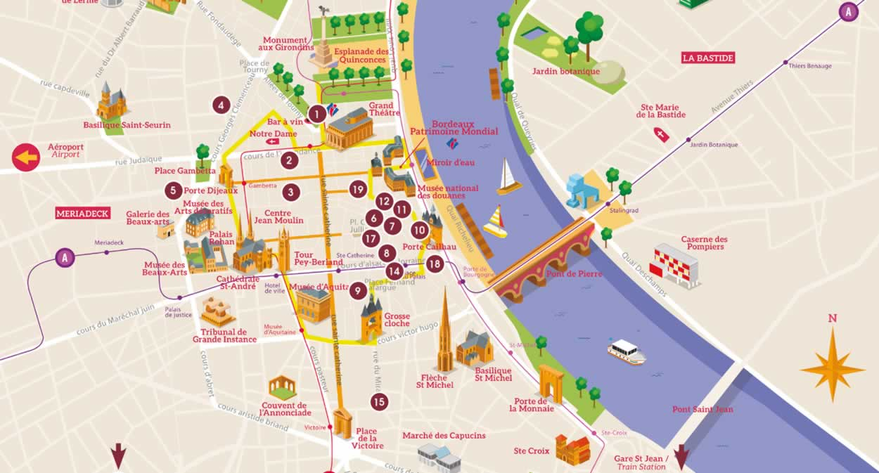Map - Urban Wine Trail - Bordeaux