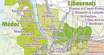 Carte des vignobles de Bordeaux ©IGN