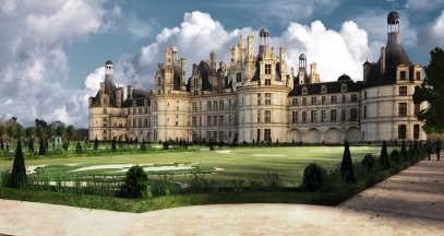 French formal gardens, Château de Chambord, Loire Valley vineyard © Domaine national de Chambord - Archivolte