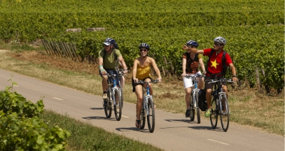 A bike trip in the vineyards of Bourgogne ©Office de tourisme Beaune et pays beaunois images associés