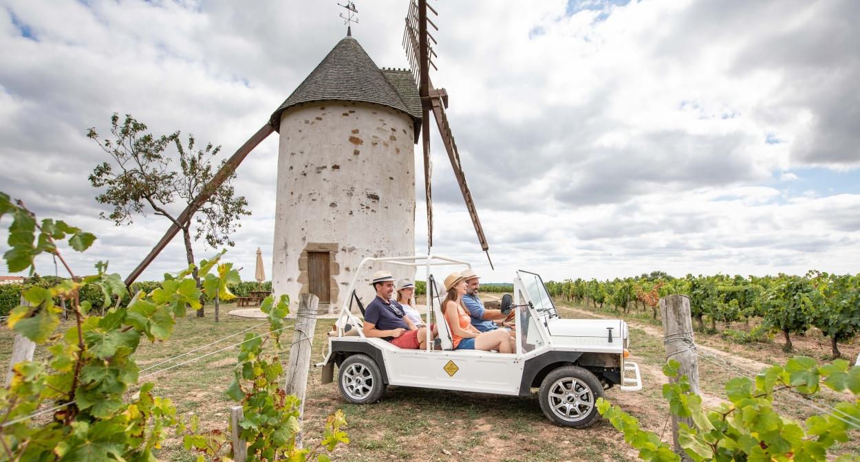 En voiturette électrique dans les vignes du vignoble Mourat © simonbourcier.com-Vendée Expansion